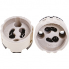 White GZ10 lampholder in porcelain, with side hole for cable