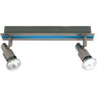 Wall Lamp GABRIEL 2xGU10 L.30xW.6xH.11cm Blue/Satin Nickel
