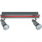 Wall Lamp GABRIEL 2xGU10 L.30xW.6xH.11cm Red/Satin Nickel