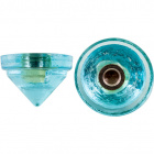 Blue glass end stone with screw thread D.4,5cm and 1 hole D.1cm.